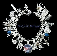 ~ MEDIEVAL TIMES THEMED, DRAGONS, KNIGHTS, QUOTE, INSPIRE, CHARM BRACELET~