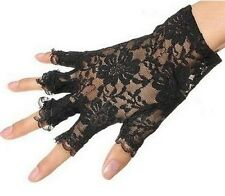Women Lace Half Finger Gloves Wrist Length Party Sexy Dressy GL001