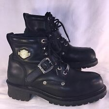 Harley Davidson Sz 9 Women's Black Leather Steel Toe Riding Biker Boots Shoes