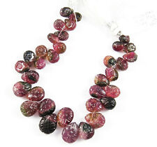 HAND CARVED NATURAL PINK GREEN WATERMELON TOURMALINE FLOWER BRIOLETTE BEADS