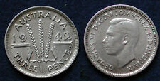 MONETA COIN AUSTRALIA KING GEORGE VI° THREE PENCE 1942 - ARGENTO SILBER SILVER