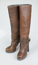 New. BRUNELLO CUCINELLI Brown Fur Lined Knee High Heels Boots Shoes 7/37 $1295