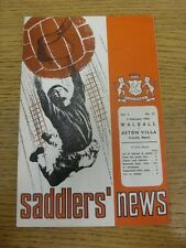 04/02/1969 Walsall v Aston Villa  (Creased, Folded, Worn). Thanks for viewing th