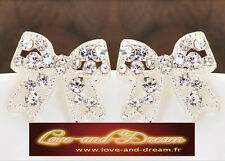 Boucles d'oreilles noeuds papillons avec diamants de cristal | Bow Tie Earrings