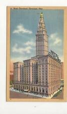 vintage Linen Post Card Hotel Cleveland with Terminal Tower Ohio FREE SHIPPING