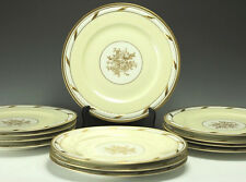 12pc Limoges Porcelain Service Plates La Cloche Ivory White Raised Design, Gilt