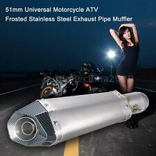 51mm Universal Motorcycle ATV Exhaust Pipe Muffler Frosted Stainless Steel Z5N0