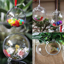 10pcs Clear Fillable Candy Box Christmas Bauble Xmas Tree Ball Ornament Decor