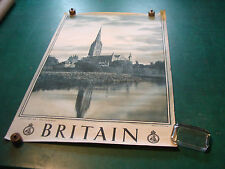 "Original Vintage Poster: BRITAIN 20 X 30"" SALISBURY---the Cathedral, tear at top"