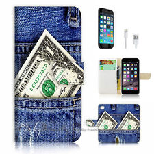 iPhone 6 6S Plus (5.5') Flip Wallet Case Cover! P1013 Jean with Dollars