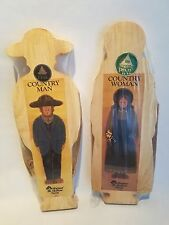 Vtg Walnut Hollow Farm Country Primitives Man & Woman Pine Wood for Painting