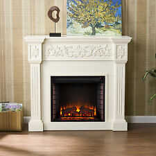 JFP97529 IVORY CARVED FRONT ELECTRIC FIREPLACE WITH REMOTE CONTROL