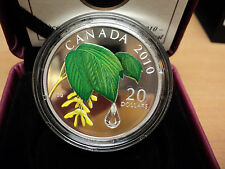 2010 Canada Maple Leaf with Crystal Raindrop $20.00 Silver Coin