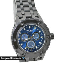 mens big black heavy steel sports dress watch blue dial bracelet designer style