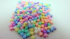 100 MIX Beads Plastic Star 6 mm Pastel Bead Crafts For Kids Free Shipping