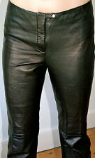 Tommy Hilfiger straight leg black leather trousers - S/10