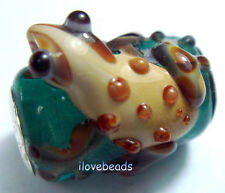 1PCS Silver Lampwork Glass Frog Animals Beads fit European Charm Bracelet ZXY-18