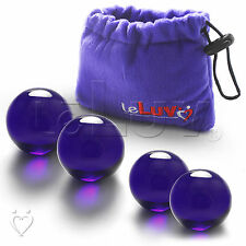 LeLuv Ben-Wa Balls Blue Glass Kegel Exercise Womens Massager SET - Md. & Lrg.