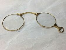 14K YELLOW GOLD ANTIQUE 1900'S GLASS LORGNETTE FOLDING OPERA SPECTACLE GLASSES