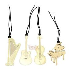P4PM 4pcs Gold Plated Metal Cute Music Instruments Guitar Bookmark Book Paper Re