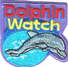 """""""DOLPHIN WATCH""""/ Iron On Embroidered  Patch /Nautical, Sea Fish, Ocean, Beach"""