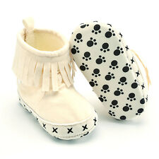 Toddler Infant Moccasin Newborn Baby Girl Shoes Soft Sole Tassel Boots Prewalker