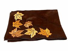 72 Inch Brown with Gold Embroidered Fall Leaves Autumn Table Runner Decoration