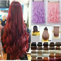 100% Natural HAIR EXTENTIONS one piece 5 CLIP IN half FULL HEAD Wavy/straight hg
