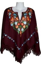 Poncho Kashmir Cashmere Shawl Winter Wear Embroidery Women Ladies Embroidered