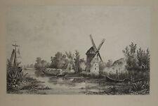 1800-DELIZIOSO PAESAGGIO FLUVIALE CON MULINO-LOUIS MARVY-INCISIONE ORIGINALE