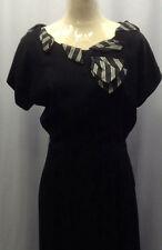 40s Original Black Crepe Dress with a Vibrant Colured Stripe Feature and Bow