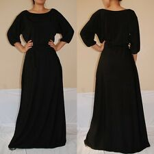 NWT Sexy Women Black Long Sleeve Maxi Dress Casual Cocktail Party Boho Sz 2XL