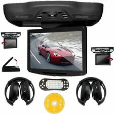 "2016 12.1"" LCD Car Roof Mount Monitor Flip Down DVD Player TV FM Games+Headsets"