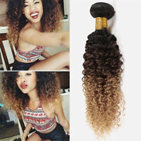 Brazilian Deep Curly Virgin Hair Ombre Weave 1 Bundle Ombre Hair Extensions