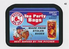 2016 TOPPS WACKY PACKAGES MLB - BOSTON RED SOX TEA PARTY BAGS - STICKER #42