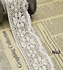 3m Algodón encaje de ganchillo adorno bordes blanco Cinta Costura Manualidades