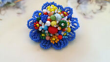 Vintage Miriam Haskell Colorful Glass Seed Bead Flower Brooch Pin 1940s 1950s