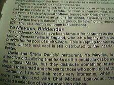 ephemera 1975 kent restaurant review ye maydes biddenden