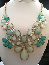 Macy's Gold Chain Statement Necklace Bib Pendant Green Blue White Crystals New