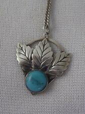 """VINTAGE H/M STERLING SILVER LEAF & TURQUOISE GLASS PENDANT &  15"""" CHAIN NECKLACE"""