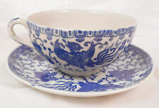 Vintage Made In Japan Cup & Saucer Blue & White Flow Phoenix & Lotus Lovely!