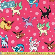 Robert Kaufman Fabric Pokemon Four Legged Monsters Pink PER METRE Nintendo Licen
