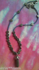 CARVED PYRITE CRYSTAL GEMSTONE POINT HIPPY BOHO NEW AGE NECKLACE 3110F