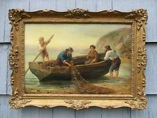 NICE Antique Oil on Canvas Fisherman with Nets and Boat
