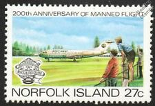 FOKKER F28 FELLOWSHIP Jet Airliner Aircraft Mint Stamp (1983 Norfolk Island)