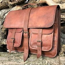 "15"" HAND-CRAFTED BRIEFCASE DESIGNER RETRO CHIC RUSTIC LEATHER LAPTOP SATCHEL BAG"