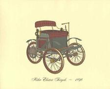 Antique Car 1898 Riker Electric Tricycle Lithograph Vintage Automobile Print