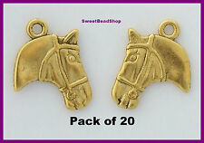20 Antique Golden Colour Double Sided 21 x 17mm Pony Horse Head Charms