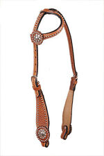 Western Natural Silver Spot Studded One Ear Headstall with Congress Conchos