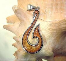 20.5mm Sterling Silver Hawaiian Koa Wood Maori Hei Matau Fish Hook Pendant #1